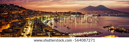 A panorama of Naples, Italy from October 2013. Stock fotó ©