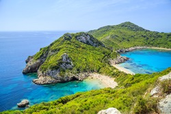 A panorama of Prto Timoni beach in Corfu, Greece