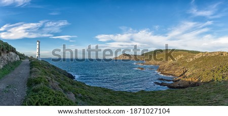 A panorama of the Cabo Home lighthouse in western Galicia Stok fotoğraf ©
