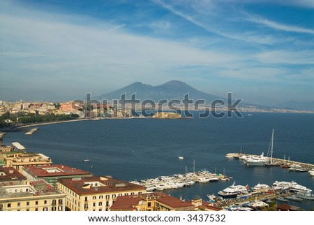 A panorama of the gulf of Naples, Italy, with Mt. Vesuvius in the background - stock photo