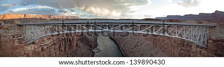 A panorama of the Navajo bridge in northern Arizona