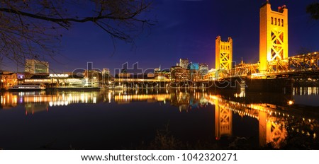 A Panorama of the Tower Bridge in Sacramento at night #1042320271