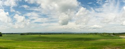 A panorama of the wide open countryside and farmlands of rural Pennsylvania. The beauty of nature and the outdoors.
