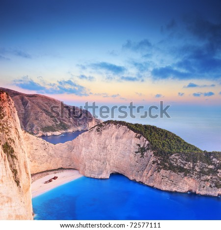 A panorama of Zakynthos island, Greece with a shipwreck on the sandy beach