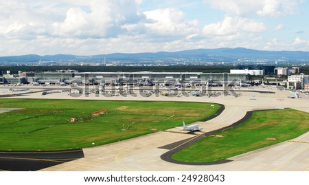 a panorama photo of the airfield at Frankfurt