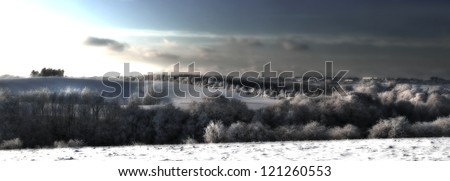 A panorama photo of winter landscape