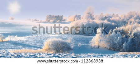 A panorama photo of winter landscape at sunrise