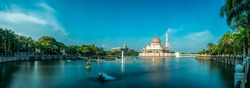 A panorama shot on sunny day at Putrajaya Mosque