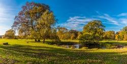 A panorama view across the Parsons Pond near Bury St Edmund, Suffolk