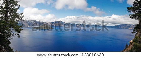A panorama view of blue crater lake in the crater national park