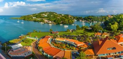 A panorama view over cruise terminal in Castries, St Lucia towards the airport in the morning