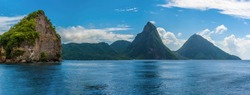 A panorama view towards Soufriere Bay, St Lucia with the Pitons in the distance