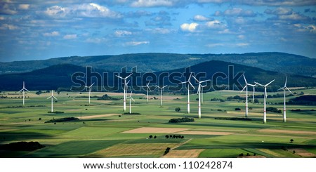 A panorama wind farm in Hesse, Germany