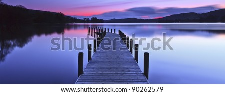 A panoramic image of a jetty at Coniston Water