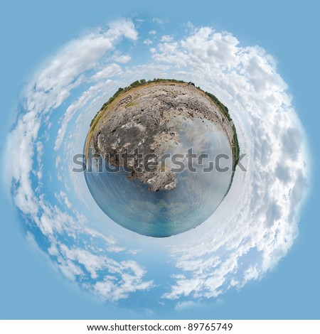 A panoramic image of the swedish coastline at Torekov made into the shape of a planet.