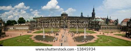 A panoramic image of the Zwinger Museum in Dresden, Germany