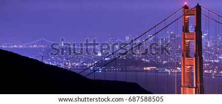 A panoramic photograph of The Golden Gate Bridge and San Francisco, CA at night.