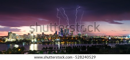 A panoramic picture of the severe strorm coming through Western Australias capital city of Perth.
