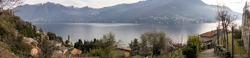 A panoramic shot of a beautiful view of Carate Urio in Laglio, Lombardia