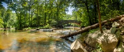 A panoramic shot of Boulder Bridge in Rock Creek Park, Washington, DC