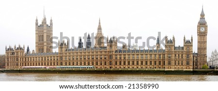 A panoramic shot of the Houses of Parliament and the Big Ben in London, UK - stock photo