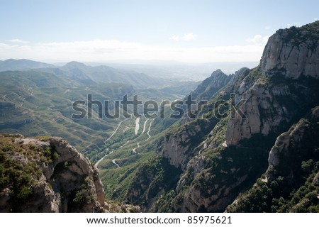 A panoramic view from the Montserrat Monastery, Spain
