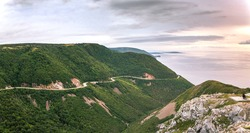 A panoramic view from the Skyline Trail along the world famous scenic Cabot Trail, Cape Breton, Nova Scotia.
