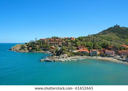 a panoramic view of Collioure coast, in France, Europe - stock photo