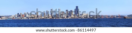 A panoramic view of downtown Seattle and the port of Seattle Washington.