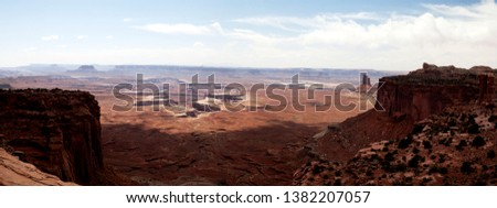 A panoramic view of Islands in the Sky in Canyon lands National Park, Utah, USA.