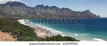 A panoramic view of Kogelbaai or Koe�«lbaai between Cape Town and Cape Hangklip on the Atlantic Ocean seaboard,  South Africa