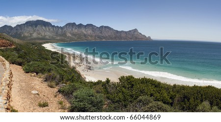 A panoramic view of Kogelbaai or Koe�«lbaai between Cape Town and Cape Hangklip on the Atlantic Ocean seaboard,  South Africa