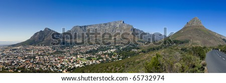 A panoramic view of Table Mountain. Lions Head, Signal Hill and the city bowl of Cape Town, South Africa