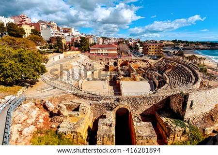 a panoramic view of the ancient roman amphitheater of Tarragona, Spain, next to the Mediterranean sea Zdjęcia stock ©