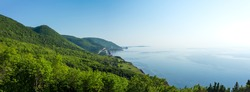 A panoramic view of the Cape Breton Islands along the world famous and most scenic Cabot Trail route, Cape Breton, Nova Scotia.