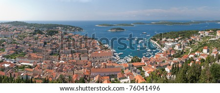 a panoramic view of the city hvar and its bordering islands on the island hvar in croatia