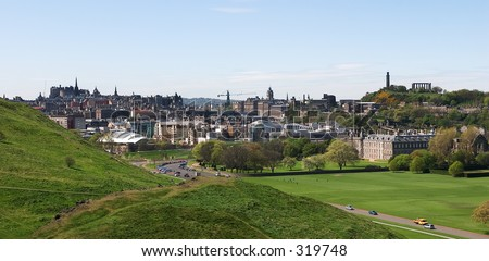 A panoramic view of the City of Edinburgh, Scotland, showing all its most famous landmarks, including the Castle, Palace, Parliament and Calton Hill.