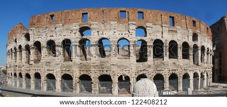 A panoramic view of the Colosseum outside walls. Rome. Italy