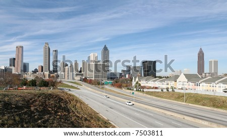 A panoramic view of the downtown Atlanta skyline. - stock photo