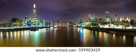 A panoramic view of the london skyline from the Tower Bridge #599903429