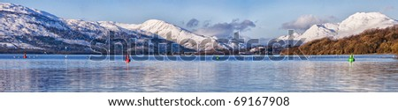 A panoramic view of the majestic and impressive Ben lomond from across loch lomond near the Scottish town of balloch.