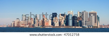 A panoramic view of the Manhattan skyline from Staten Island
