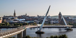 A panoramic view of the peace bridge at Derry Londonderry