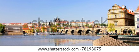 A panoramic view of the Prague Castle (Prazsky hrad) and the Charles Bridge (Karluv most). Here the Kings of Bohemia, and presidents of Czechoslovakia and the Czech Republic have had their offices.