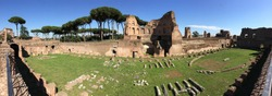 A panoramic view of the ruins of the Roman Forum in Rome, Italy.