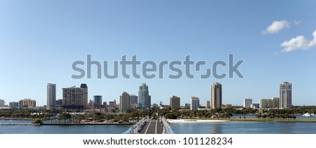 A panoramic view of the skyline of St. Petersburg, Florida.