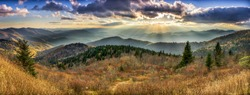 A panoramic view of the Smoky Mountains from the Blue Ridge Parkway in North Carolina