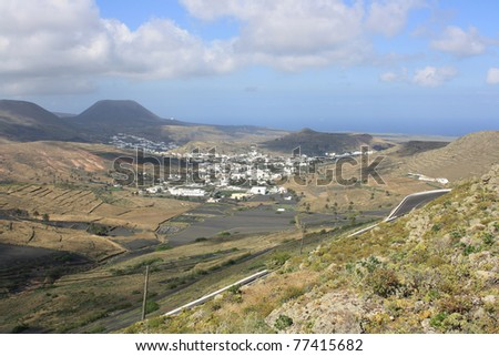 A Panoramic View of the Village of Haria on the  Lanzarote Island ( Canary Islands Spain )