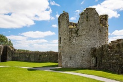 A panoramic view of Trim castle in County Meath on the River Boyne, Ireland. It is the largest Anglo-Norman Castle in Ireland