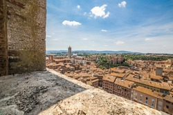 A panoramic view on the Siena; picture taken from La Torre del Mangia located on the Piazza del Campo, Palazzo Pubblico. Siena, Italy.
